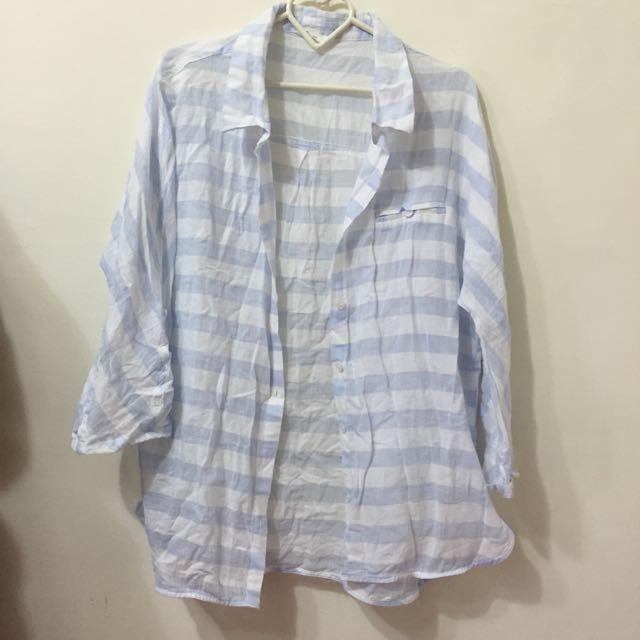 [免運]NET藍色條紋長版襯衫