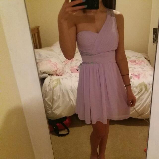 Off The Should Lilac Dress - DOTTI