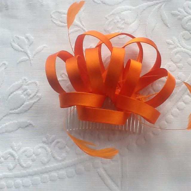 Orange Comb Fascinator