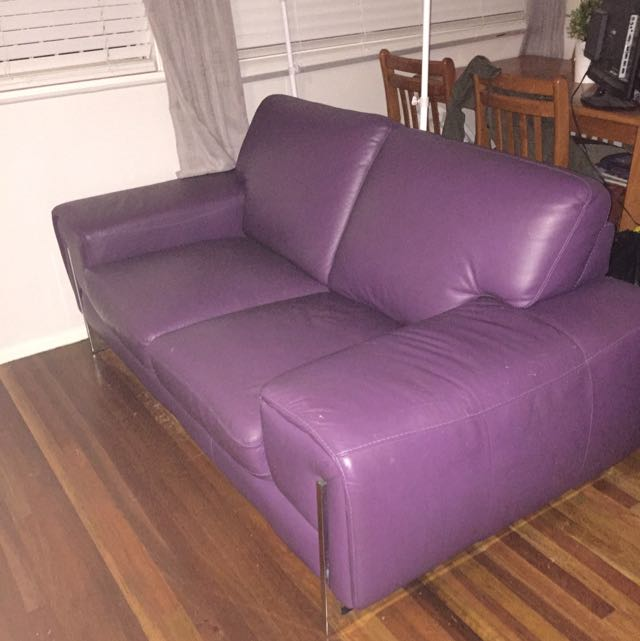 Purple Leather Lounge Set