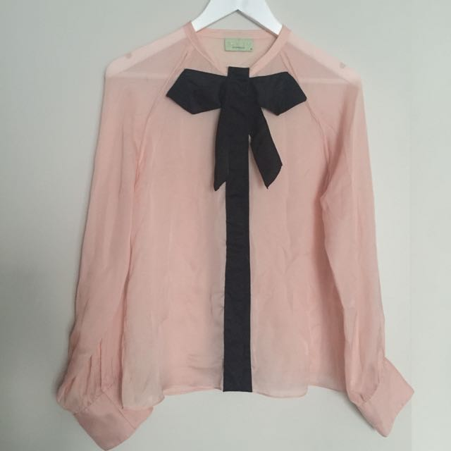 Review Size 10 sheer pussy bow blouse