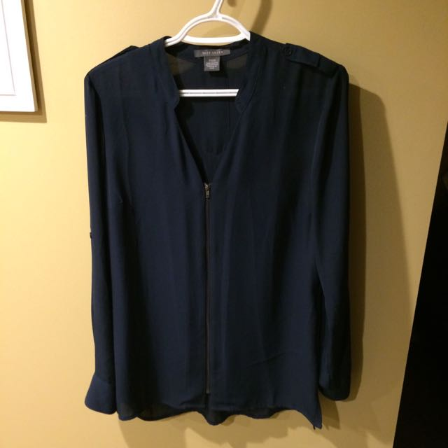Sheer Blue Zip Up Blouse