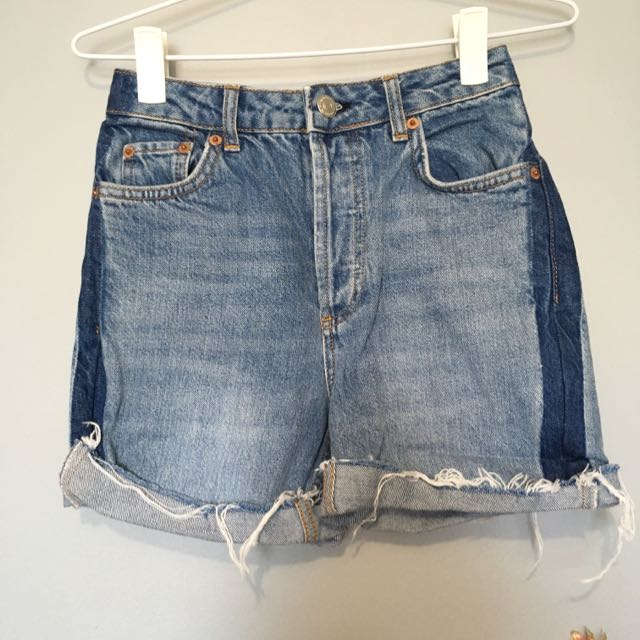 TOPSHOP Denim High Waist Shorts