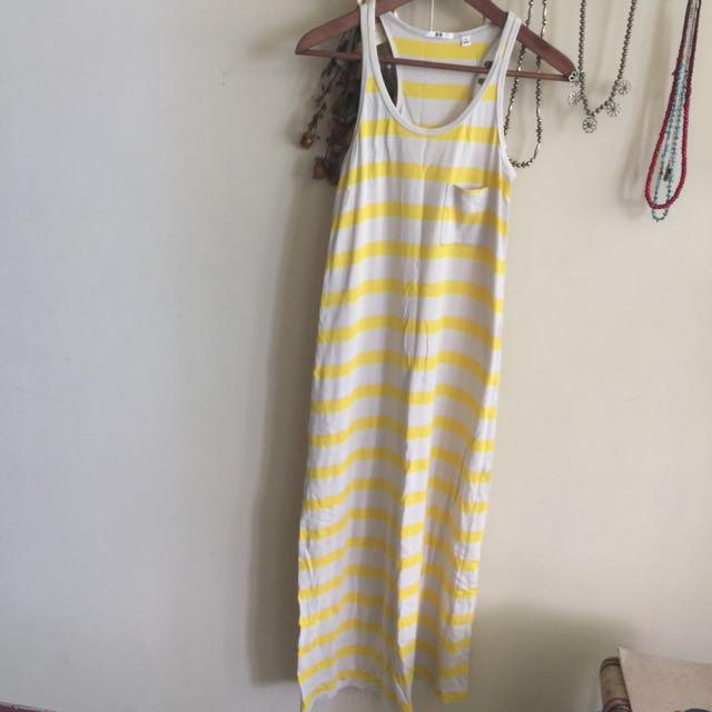 Uniqlo 條紋 螢光 背心 長洋裝