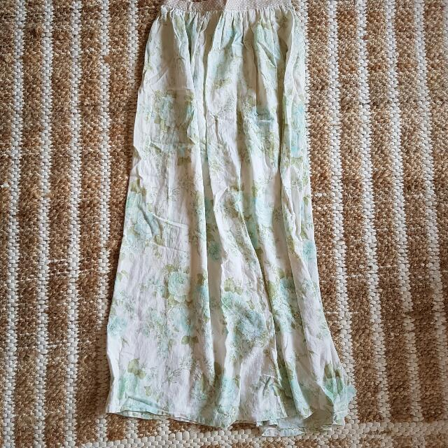 Vintage Fabric Boho Pastel Maxi Skirt One Size