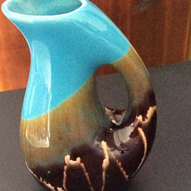 Vintage glazed pottery Vase