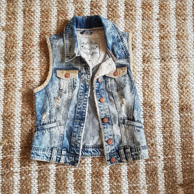 Washed Denim Vest Warm 6