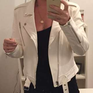 Theory white leather jacket