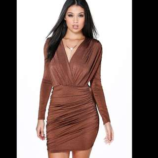 Brown Boohoo Dress