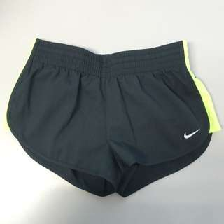Nike Women's Training Shorts With Yellow Mesh Side Panel