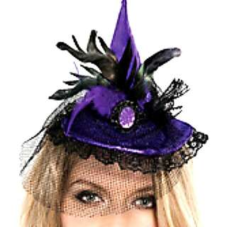 Mini Purple Witch Hat Headband