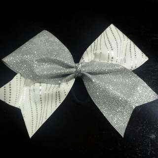 Large Silver & White Cheerleading Hair Bow