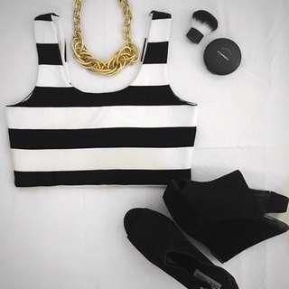 ⭐️ Bardot (size 10)- Sleeveless Crop With Thick Black & White Stripes