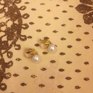 珍珠夾式耳環 八成新 耳夾 韓國東大門購入