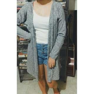 Knee Length Knit Cardigan