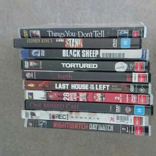 20 DVDs 1 Price. 10 Horror And 10 Action/drama/thriller