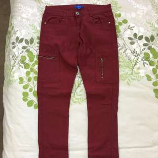 Red/burgundy skinny Jeans