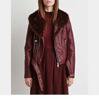 Faux Leather And Fur Coat