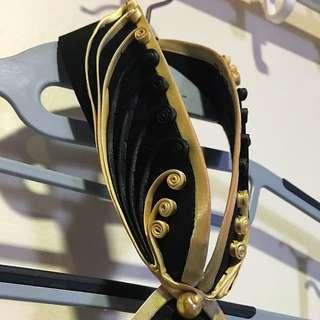 Black & Gold Full-Length Silk Qipao