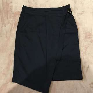 Country Road Navy Wrap Skirt