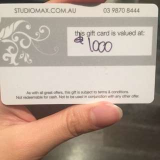 Gift Card for photoshoot