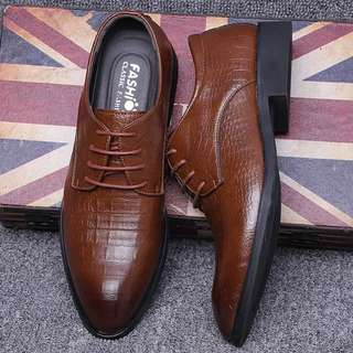 👟MEN👟 Lace Up Leather Textured Heel Formal Business Shoes