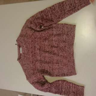 Red Mixed Knit Crop Sweater