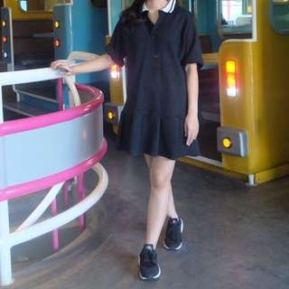Black Short Dress With White Collar