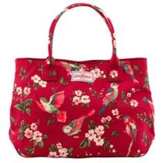 Cath Kidston British Birds Day Bag Red Leather Trim