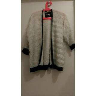 Furry White Cardigan