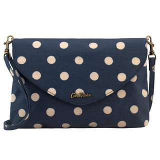 Cath Kidston Envelope Clutch Embossed Leather Blue Spotty