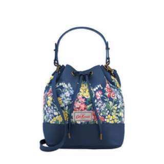 Cath Kidston Herbaceous Flower Bucket Sling Cross Body Tote Leather Bag