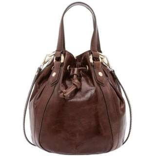 Oroton Leather Brown Tuscan Pouch Bucket/Tote Bag