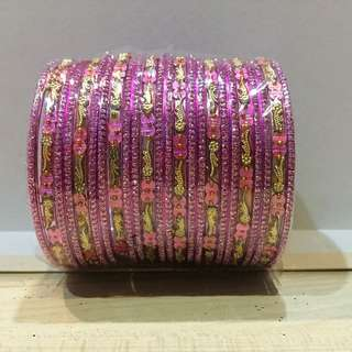 Pink Bangles With Gold Designs