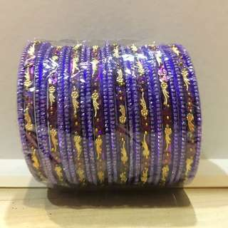 Purple Bangles With Gold Designs