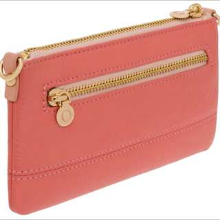 BNIB BNWT Oroton Bueno Contrast Small Clutch Sing Bag In Burnt Coral, Coral Sand