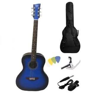 """SB Lumanog 40"""" Acoustic Guitar Package (Blue)"""