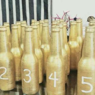 (TAKE ALL)Gold Glass Bottle Table Numbers