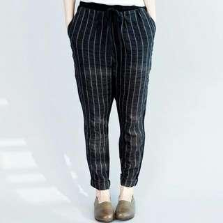 秋款黑直條紋棉麻顯瘦綁帶休閒褲XL,2XL