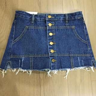 牛仔排釦褲裙