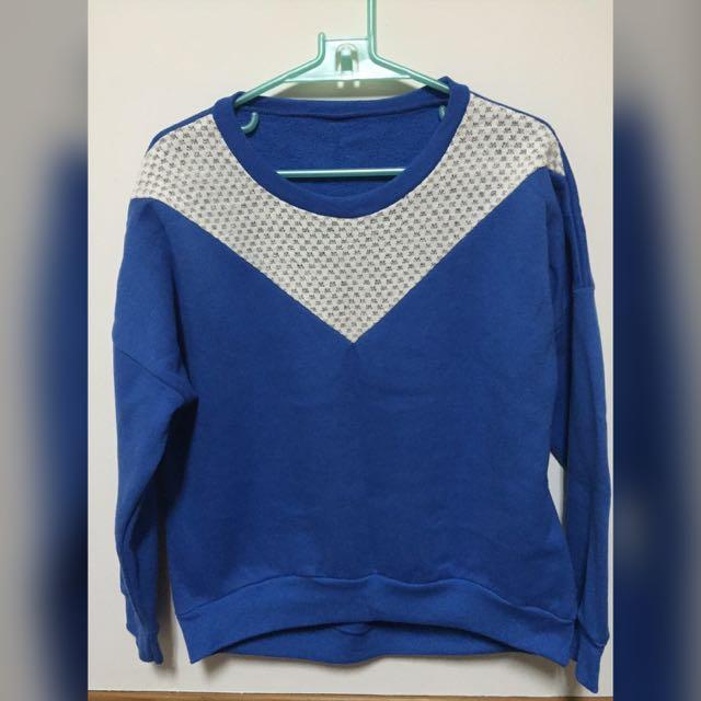 免運❌藍色鋪棉撞色上衣