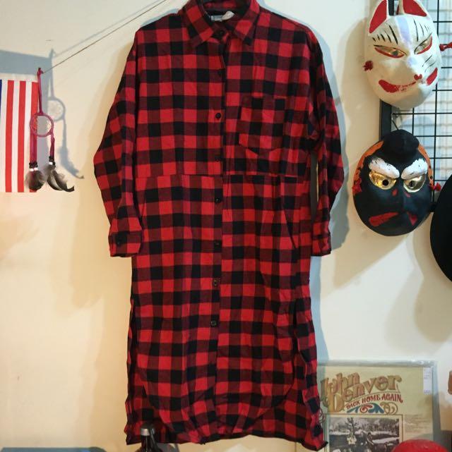 紅黑格紋長版襯衫