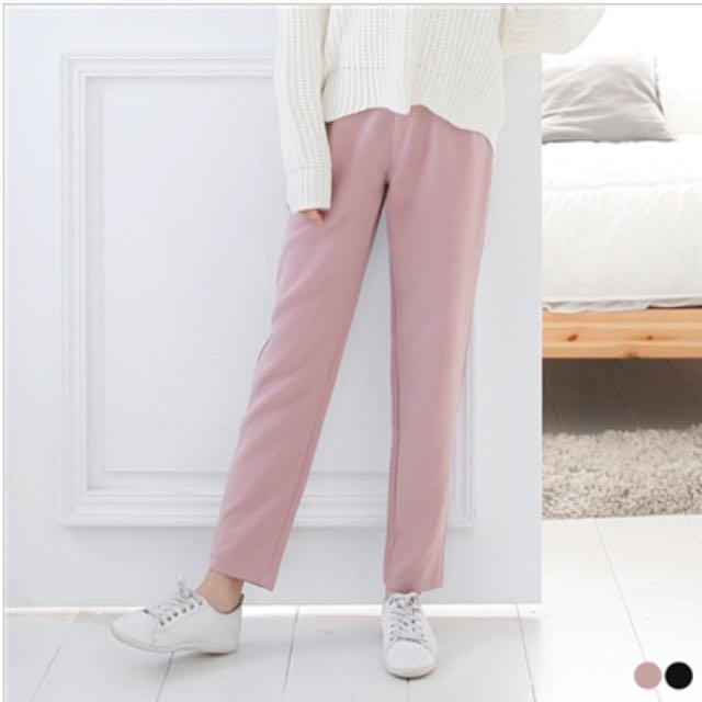 粉色 大碼 西裝 直筒長褲 寬鬆 休閒