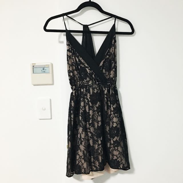 ASOS Size 8 Petite Lace Soft Wrap Skater Dress