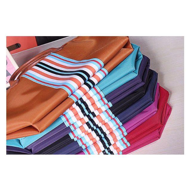 Auth. Longchamp Stripes Tote Bag