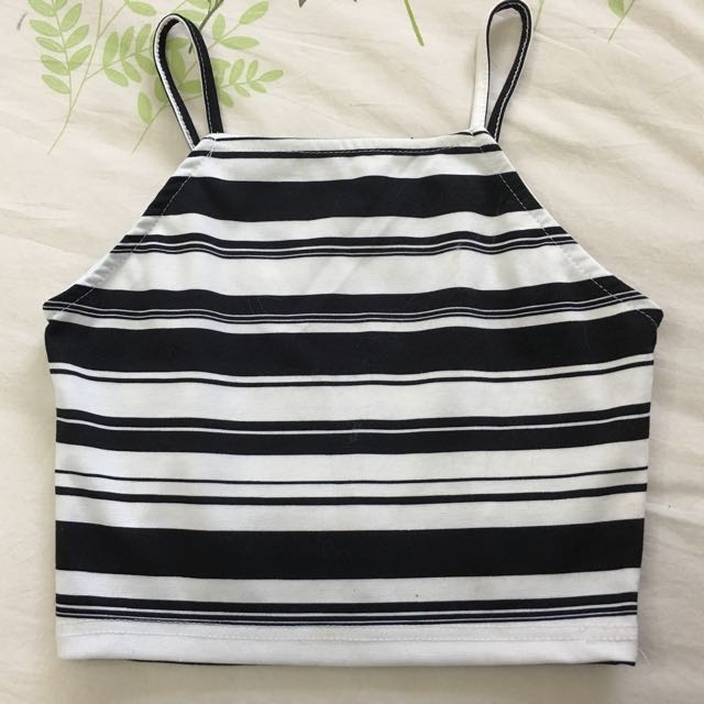 Black White Stripped crop Top
