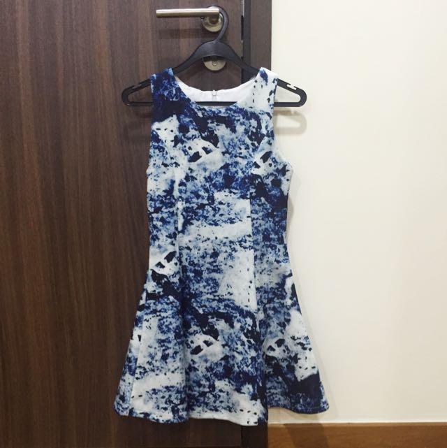 Blue & White Marble Print Skater Dress
