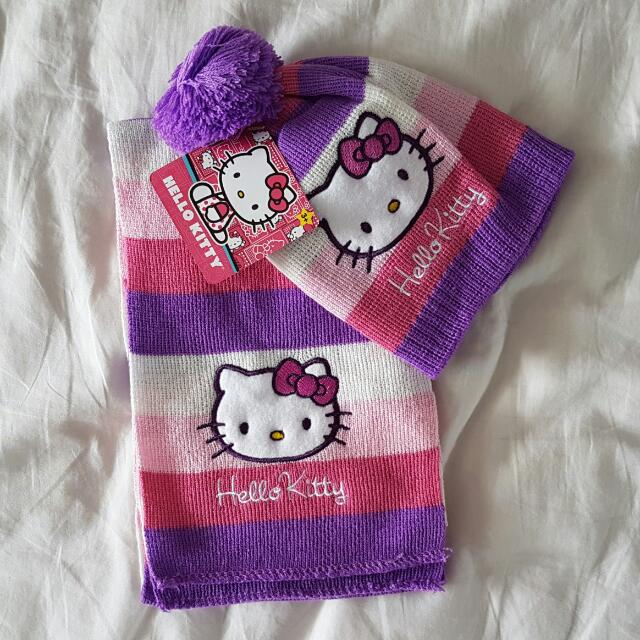Brand New Hello Kitty Winter Knitted Scarf And Hat For Baby (Purple ... 8180a56021b9