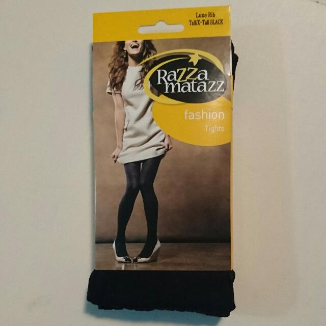Brand New Women's Razza Matazz Fashion Tights Style Luxe Rib Colour Black Size Tall/X-Tall