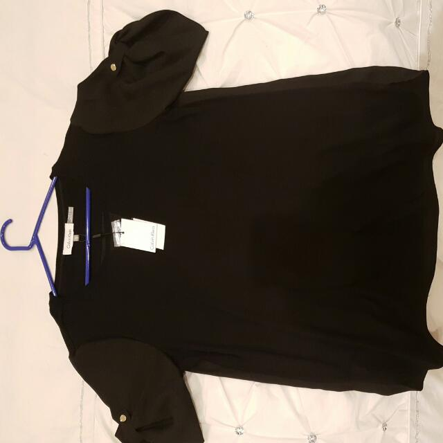 New With Tags Calvin Klein Black Shirt With Silk Sleeves. Size M